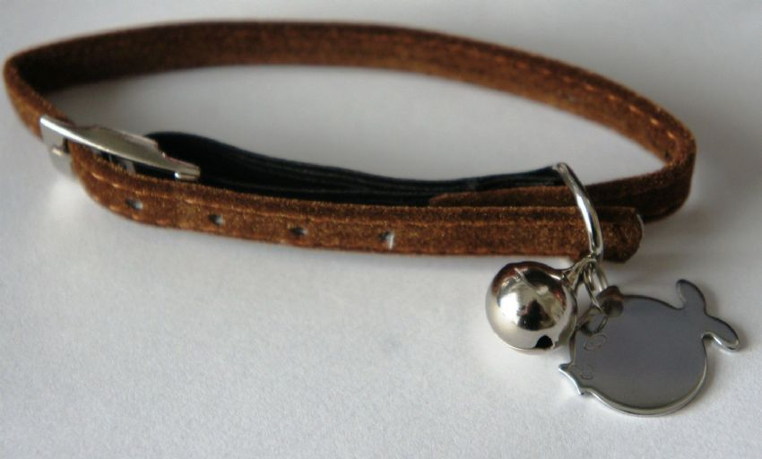 SOFT SAFETY CAT COLLAR WITH BELL AND ENGRAVED FISH ID TAG ARMITAGE BROWN VELVET
